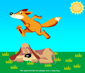 "Bright cartoon of ""the quick brown fox jumps over the lazy dog"""