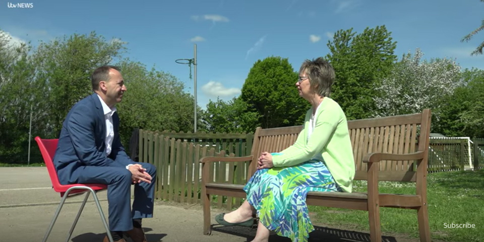 Julie Taplin being interviewed by Peter Bearne for the ITV Central News Bright Sparks Series