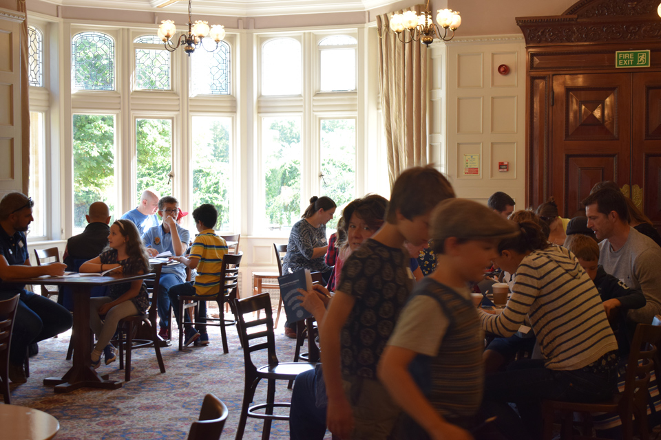 Families gathered in the Bletchly Park Mansion House Dining room 2018