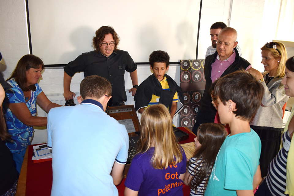 Family groups at an Enigma Workshop, Bletchley Park