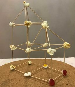 Spaghetti, popcorn and sweets tower