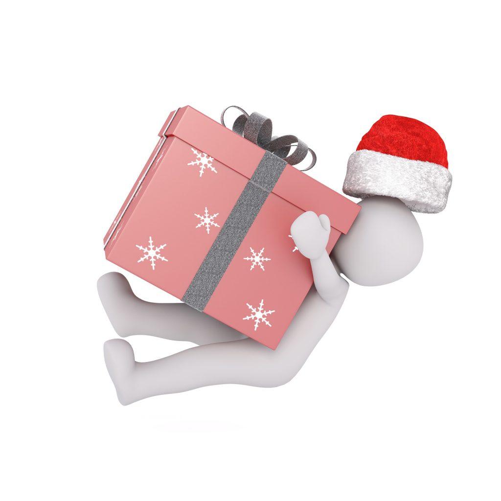 Christmas cartoon man and a box
