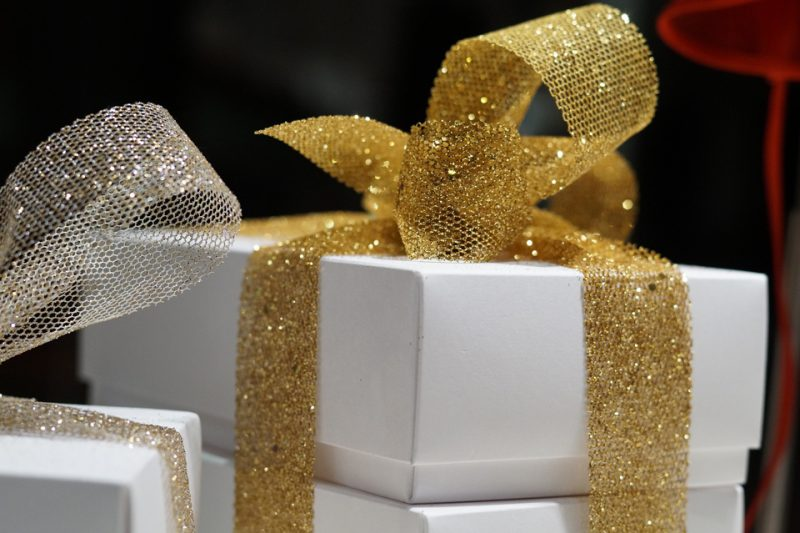 Gift Box with sparkly gold ribbon