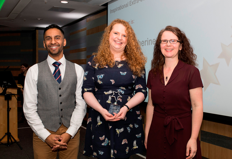 Above and Beyond Awards 2019. Bobby Seagull - Inspirational Extra-Curricular Provision Award winner, Catherine McEvoy - Rebecca Howell