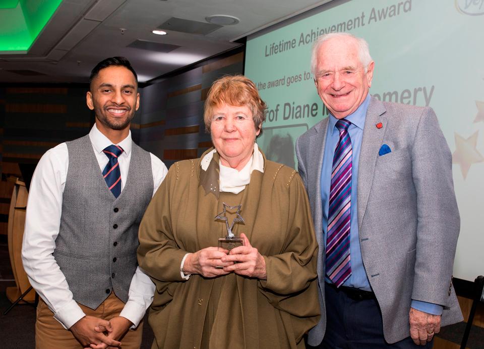 Above and Beyond Awards 2019. Bobby Seagull - Lifetime Achievement Award winner, Professor Diane Montgomery - Johnny Ball