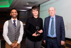 Above and Beyond Awards 2019. Bobby Seagull - Inspirational Support Staff Winner Jodie Fink - Joe McCann
