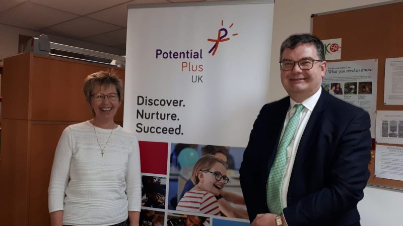 Julie Taplin with local MP Iain Stewart on a visit to Potential Plus UK offices February 2019