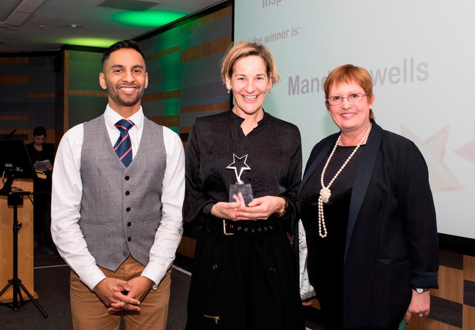 Above and Beyond Awards 2019. Bobby Seagull - Inspirational Leader Award winner Mandi Howells - Denise Yates