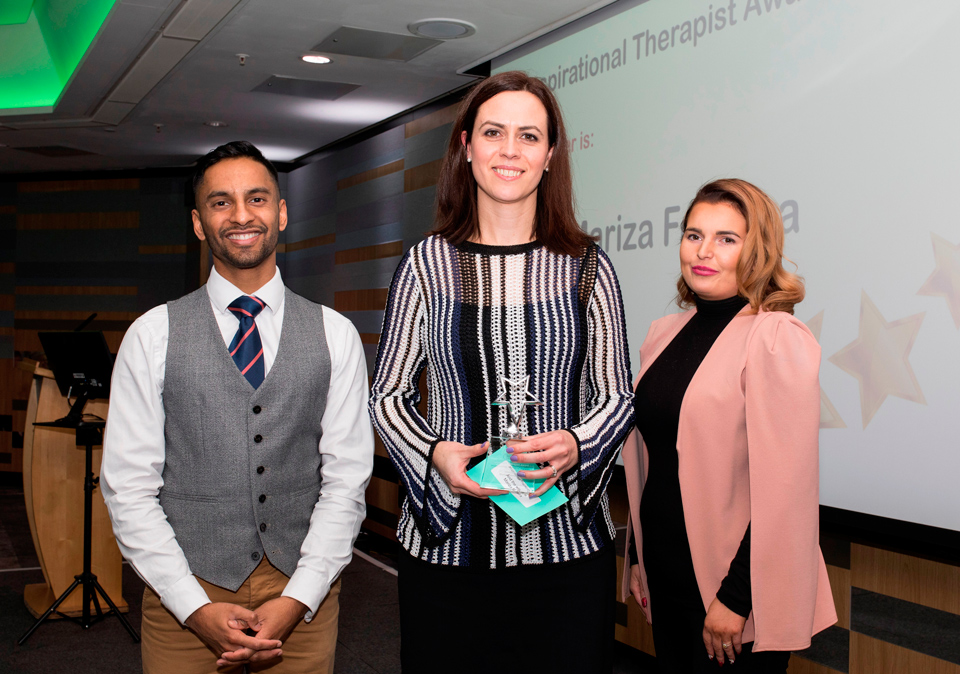 Above and Beyond Awards 2019. Bobby Seagull - Inspirational Therapist Award winner, Mariza Ferreira - Rachel Egan