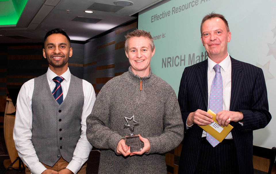 2019 Above and Beyond Awards. Bobby Seagull - Effective Resource Winner NRICH Maths collected by collected by Director, Ems Lord - Adrian Sladdin