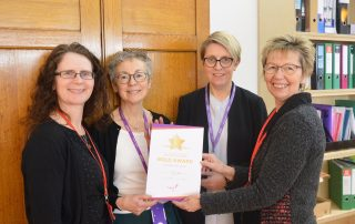 L-R. Rebecca Howell, Potential Plus UK Senior Education Consultant; Joy Morgan, Assistant Headteacher; Sarah Creasey, Headteacher; Julie Taplin, Potential Plus UK Chief Executive