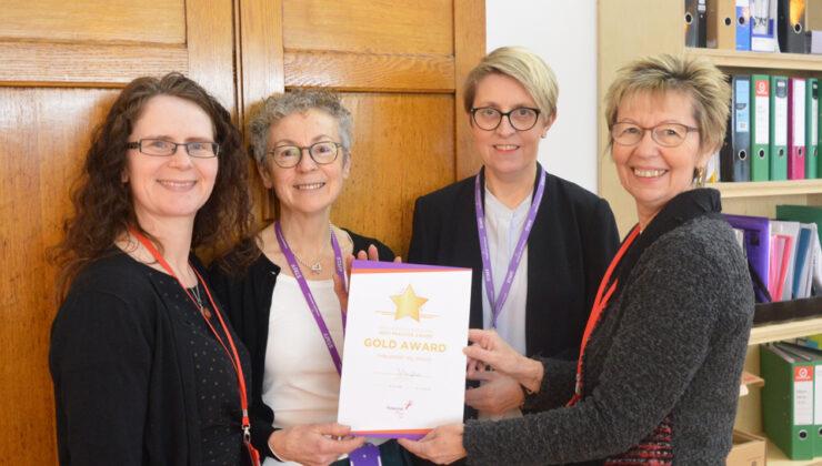 L-R. Rebecca Howell, Potential Plus UK Senior Education Consultant; Joy Morgan, Assistant Headteacher; Sarah Creasey, Headteacher; Julie Taplin, Potential Plus UK Chief Executive