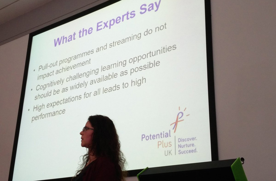 Rebecca Howell presenting at the REAch2 Trust conference on high learning potential
