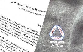 Romanian Master Maths Competition 2019. Part of maths paper and logo on sweatshirt of the UK team