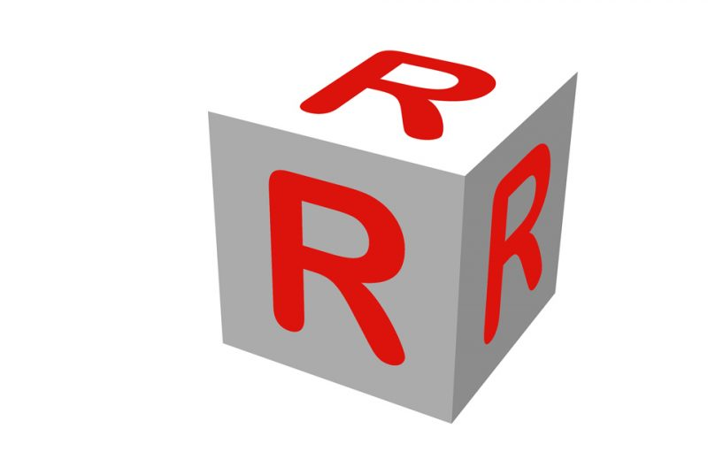 Block with three letter R's in red