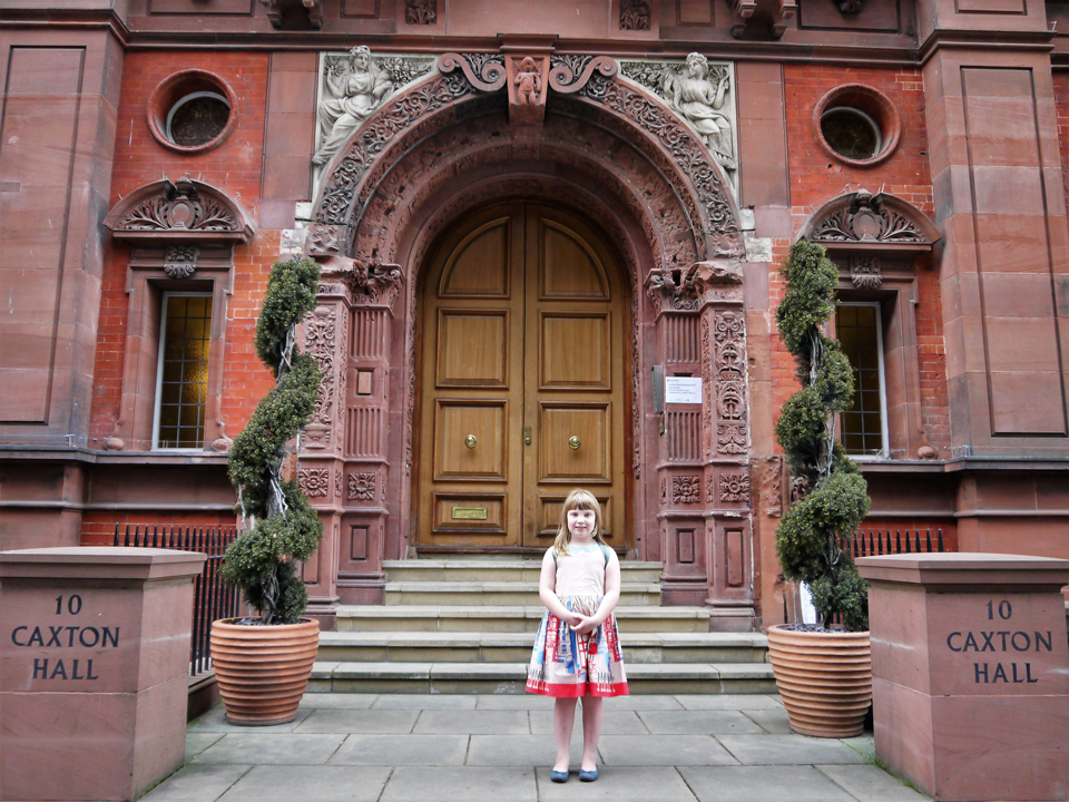 Girl standing in front of Caxton Hall