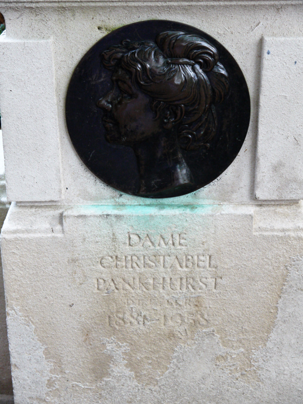 Emmeline Pankhurst Statue - plaque to Christabel Pankhurst - in Victoria Tower Gardens