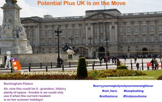 Buckingham Palace adapted photograph Potential Plus UK on the move from photo by Alan Eisen CC3.0