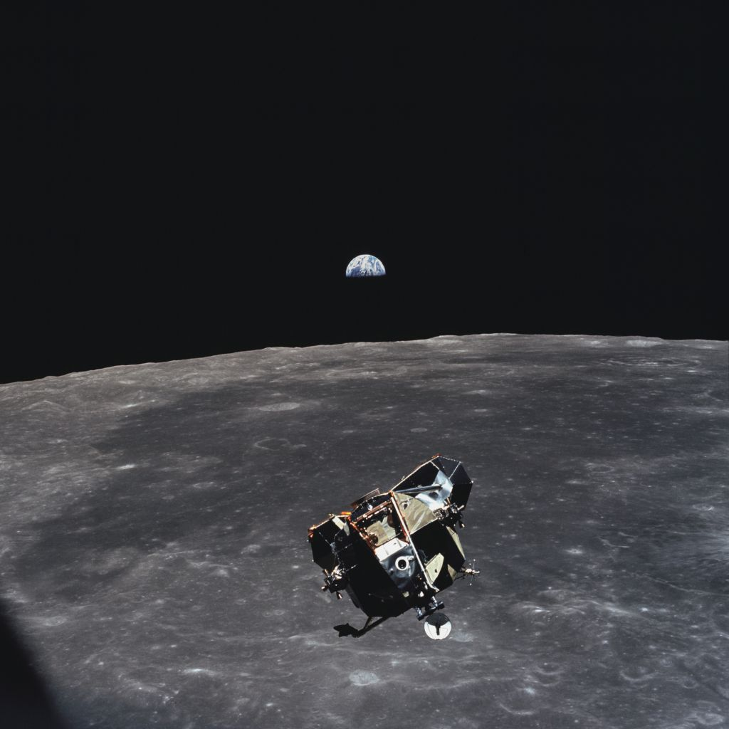 The Apollo 11 lunar landing module Eagle, containing Neil Armstrong and Buzz Aldrin, photographed by Michael Collins from Columbia command module during rendezvous operations on July 21, 1969