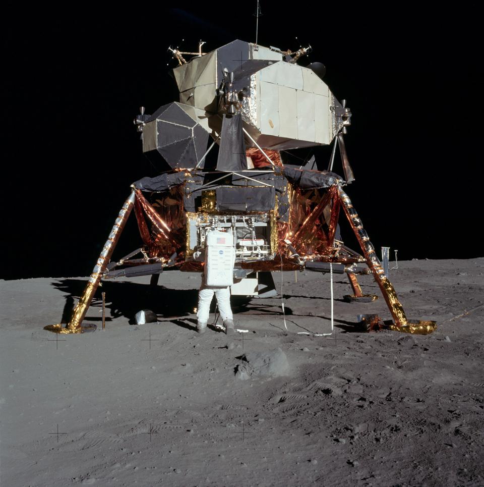 Buzz Aldrin outside the Apollo 11 Lunar Landing Module on the moon