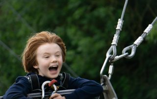 happy boy on a giant outdoor swing