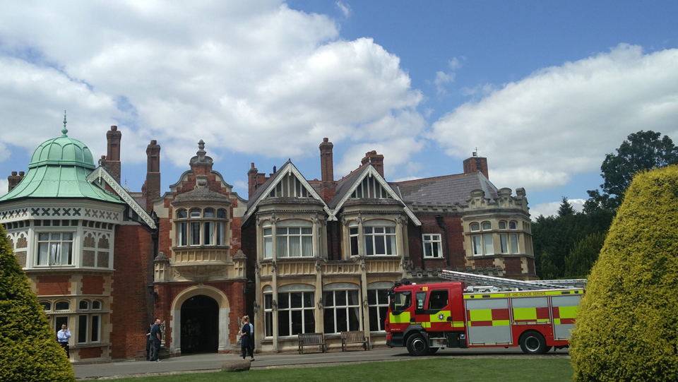 Fire engine outside The Mansion, Bletchley Park, July 3rd, 2019