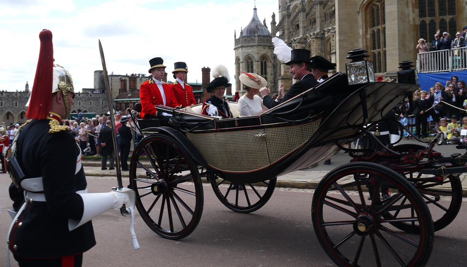 Princess Anne, Vice Admiral Sir Timothy Laurence, Prince Edward, Sophie Countess of Wessex in a carriage during Garter Day 2019 procession