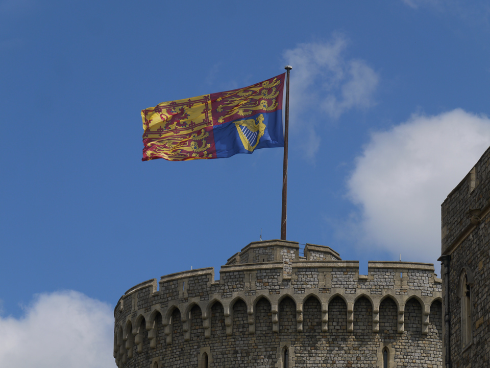 Queen's Flag flying at the top of the Round Tower, Windsor Castle