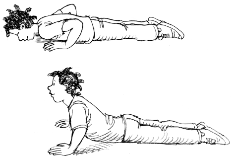Graphic of a person performing half push-ups