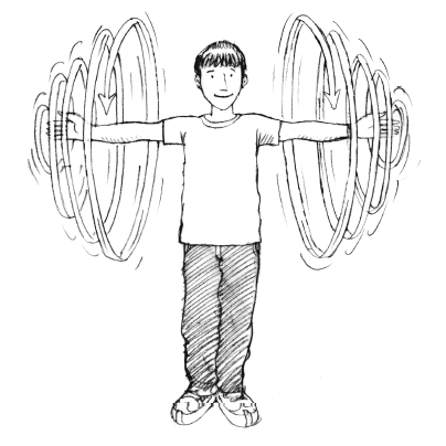 Graphic of person doing shoulder arm spiral exercise