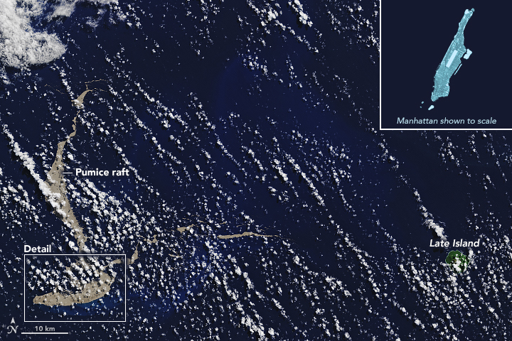 Pumice Raft off Tonga August 2019 Image from Nasa Earth Observatory https://earthobservatory.nasa.gov/images/145490/a-raft-of-rock