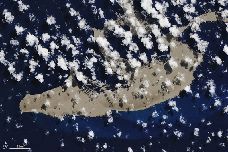 Pumice raft Detail off Tonga August 2019 from Nasa Earth Observatory https://earthobservatory.nasa.gov/images/145490/a-raft-of-rock