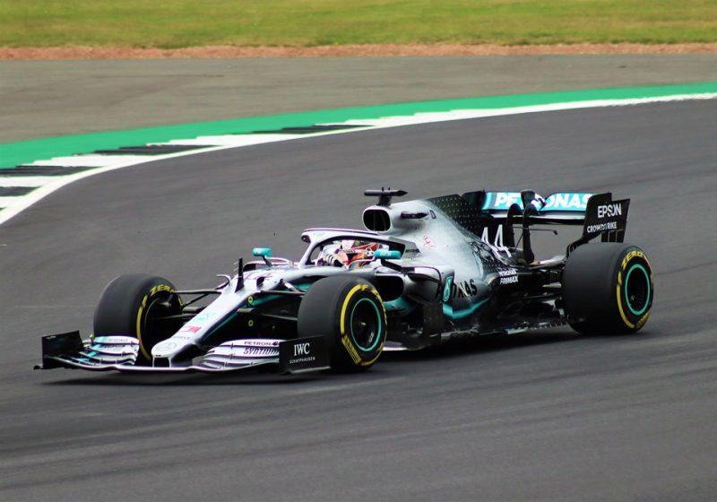 Lewis Hamilton Racing Car on Track