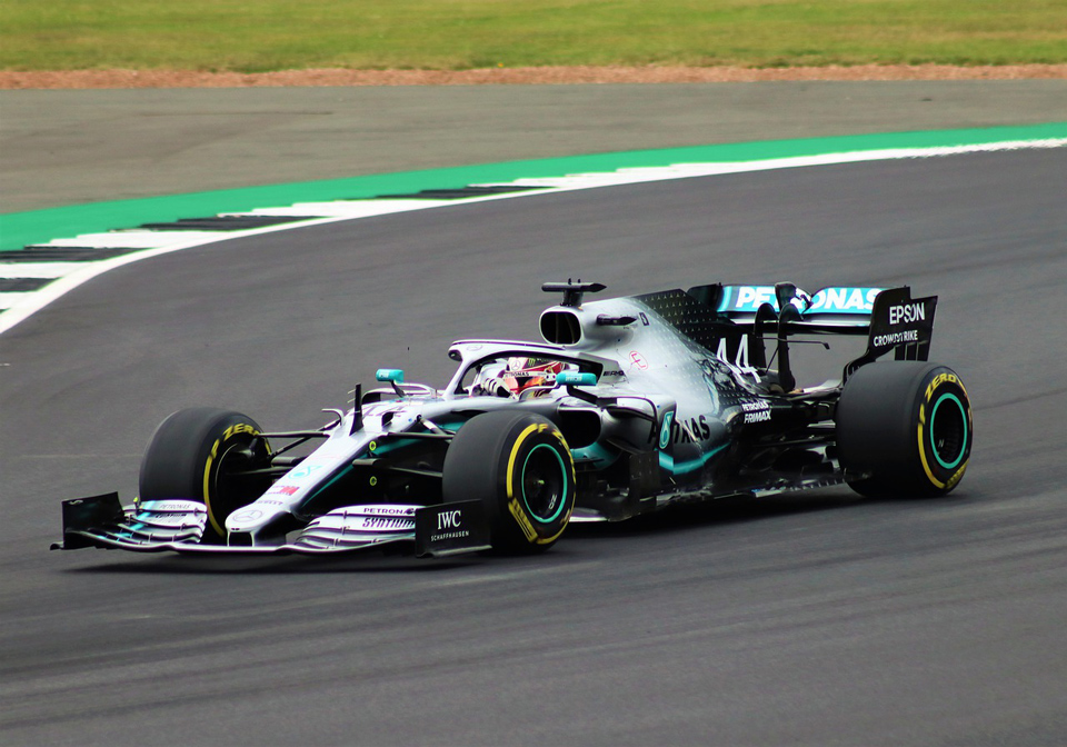 Lewis Hamilton Racing Car on Track