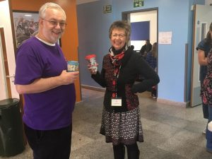 Chair of Potential Plus UK Trustees, Steve Ramsden and Chief Executive Julie Taplin having a quick coffee break at Potential Plus UK's BIG Family Weekend, 2019