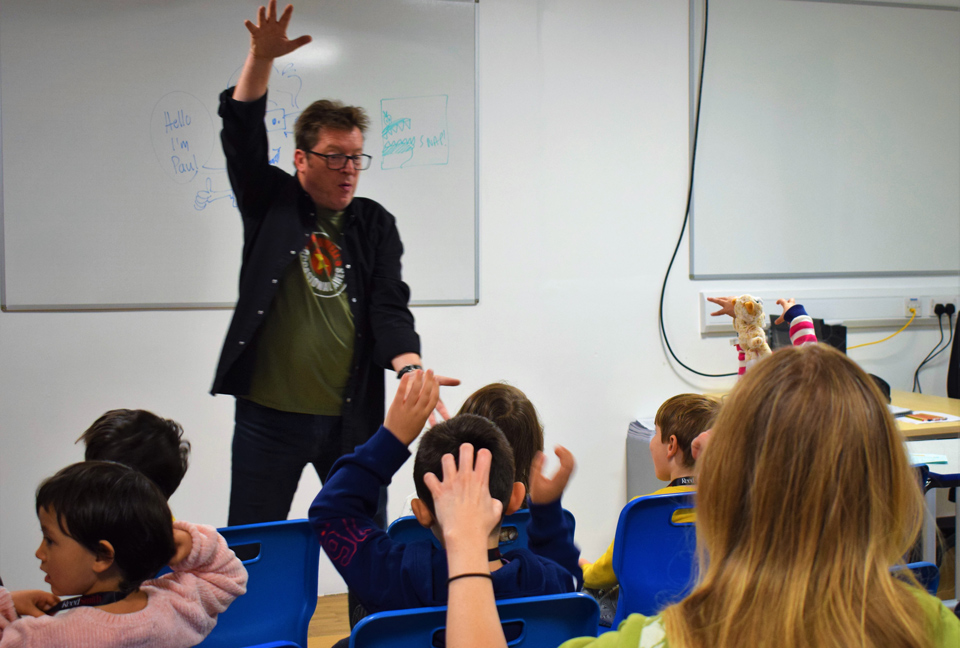 Paul Cookson leading an active poetry session at Potential Plus UK's BIG Family Weekend, 2019