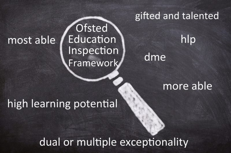 Blackboard with Ofsted Education Inspection Framework under a magnifying glass. Other words like high learning potential, gifted and talented, more able etc surround it