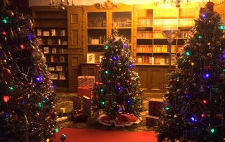 Christmas Trees inside the library at Bletchley Park