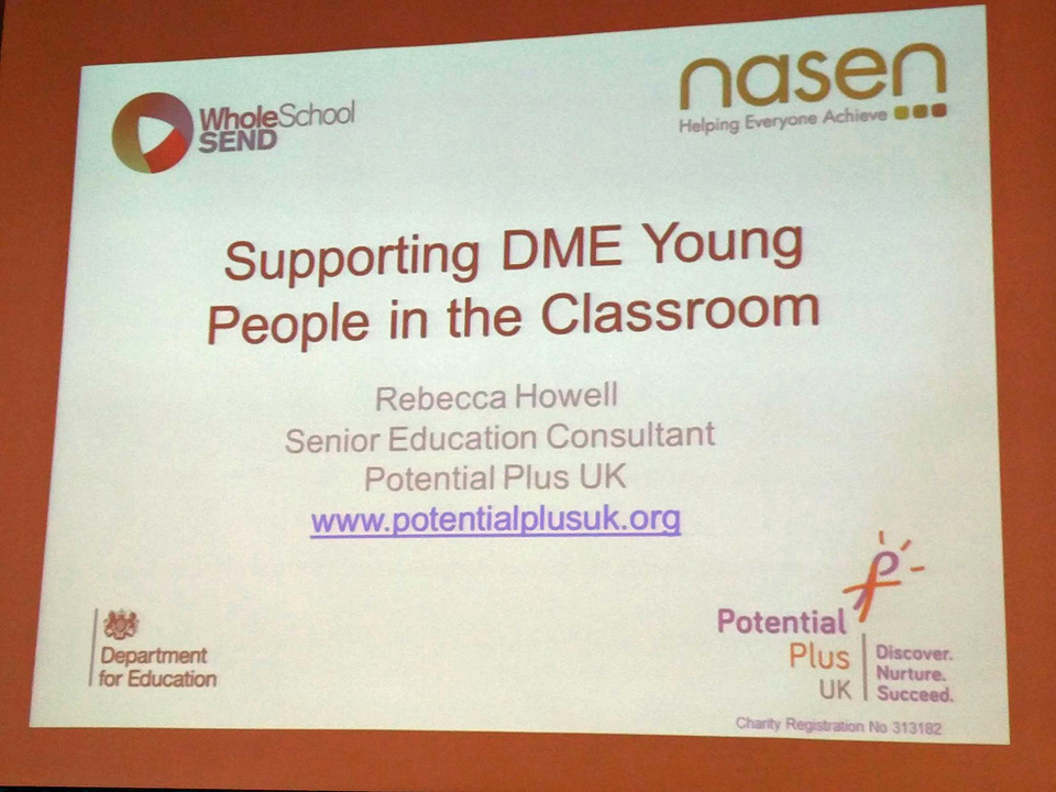 "Slide stating ""Supporting DME Young People in the Classroom"" from a training course given by PPUK in conjunction with Whole School SEND"