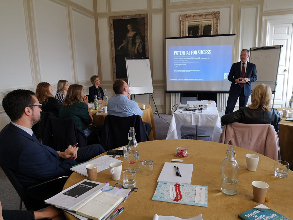 Dr. Mac Heath, Director of Children's Services for Milton Keynes, addresses the Working Together to Support Disadvantaged More Able Young People in Milton Keynes meeting at Chicheley Hall, November, 2019