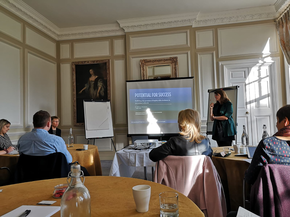 Rebecca Montacute of the Sutton Trust addresses the Working Together to Support Disadvantaged More Able Young People in Milton Keynes meeting at Chicheley Hall, November, 2019
