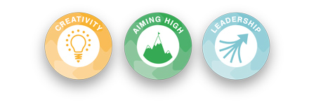 creativity, aiming high, leadership skills builder logos