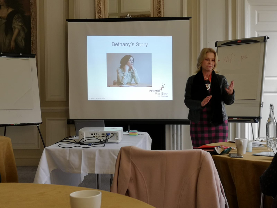 Julia Upton, High Sheriff of Milton Keynes addresses the Working Together to Support Disadvantaged More Able Young People in Milton Keynes meeting at Chicheley Hall, November, 2019