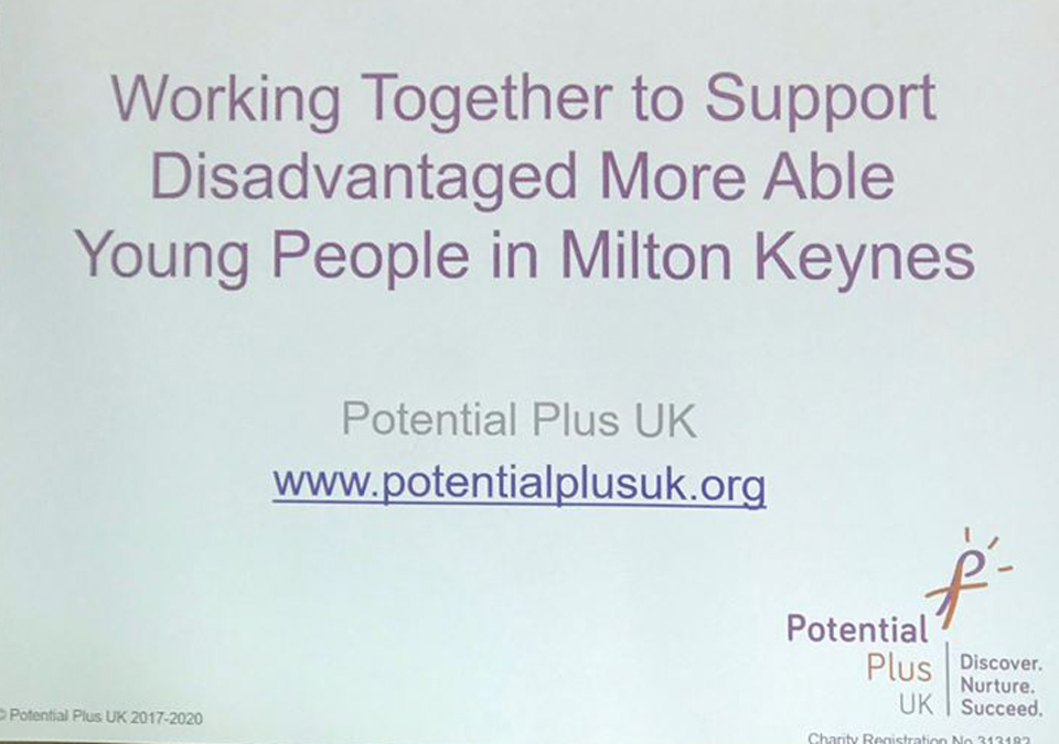 Working together to support disadvantaged More Able Young People in Milton Keynes - a conference at Chicheley Hall, November 2019