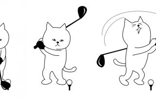 Cartoon cat trying golf