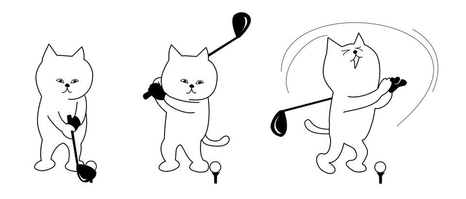Cartoon cat trying golf