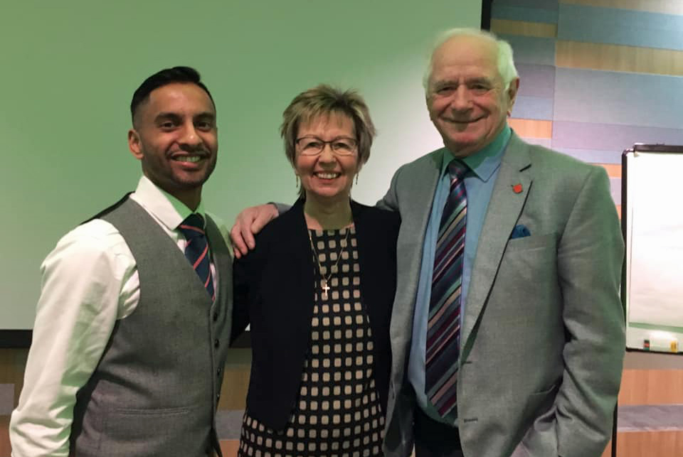 Bobby Seagull, Julie Taplin and Johnny Ball at the Above and Beyond Awards 2019