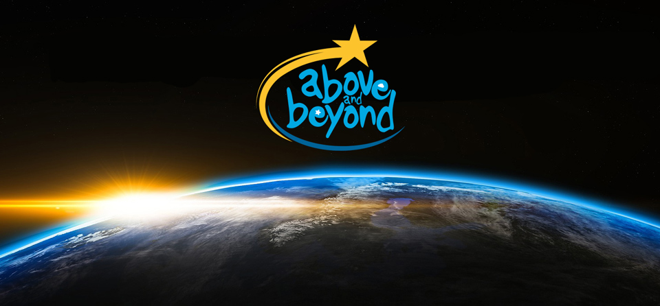 above and beyond logo hovering in the blackness of space above the curve of the planet earth