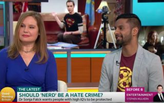 Image: ITV. Dr. Sonja Falck and Potential Plus UK's Ambassador, Bobby Seagull debating on Good Morning Britain