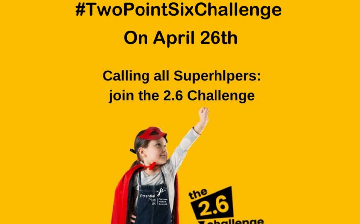 young girl in a superhero stance for the twopointsixchallenge